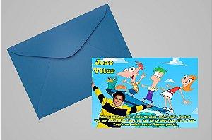 Convite 10x15 Phineas and Ferb 001 com foto