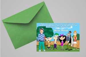 Convite 10x15 Phineas and Ferb 002 com foto