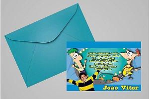 Convite 10x15 Phineas and Ferb 005 com foto