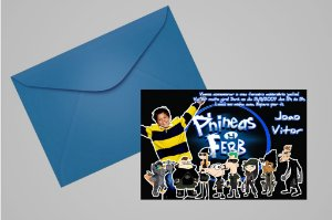 Convite 10x15 Phineas and Ferb 006 com foto