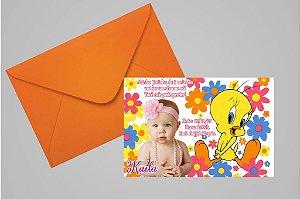 Convite 10x15 Piu-piu Tweety 008 com foto