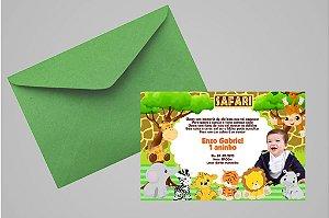 Convite 10x15 Safari 001 com foto