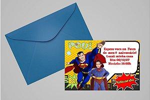 Convite 10x15 Super Homem 002 com foto