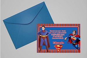 Convite 10x15 Super Homem 004 com foto