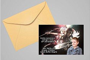 Convite 10x15 Sword Art Online 003 com foto