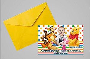 Convite 10x15 Ursinho Pooh -  Ursinho Puff  001 com foto