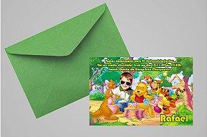 Convite 10x15 Ursinho Pooh -  Ursinho Puff 004 com foto
