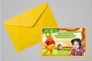 Convite 10x15 Ursinho Pooh -  Ursinho Puff 006 com foto