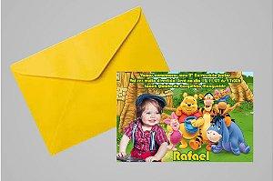 Convite 10x15 Ursinho Pooh -  Ursinho Puff 007 com foto