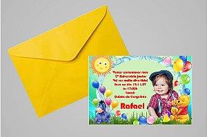 Convite 10x15 Ursinho Pooh -  Ursinho Puff 009 com foto