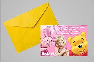 Convite 10x15 Ursinho Pooh -  Ursinho Puff 010 com foto