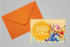 Convite 10x15 Ursinho Pooh -  Ursinho Puff 012