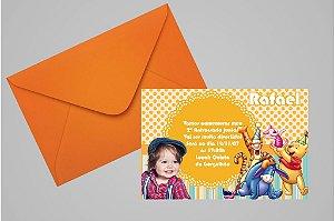 Convite 10x15 Ursinho Pooh -  Ursinho Puff 012 com foto