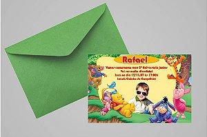 Convite 10x15 Ursinho Pooh - Ursinho Puff 013 com foto