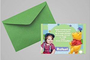 Convite 10x15 Ursinho Pooh - Ursinho Puff 014 com foto
