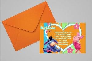 Convite 10x15 Ursinho Pooh - Ursinho Puff 019