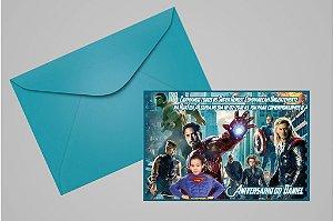 Convite 10x15 Vingadores 002 com foto