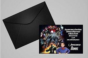 Convite 10x15 Vingadores 003 com foto