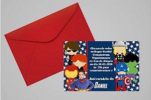Convite 10x15 Vingadores 005 com foto