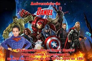 Convite 10x15 Vingadores 006 com foto
