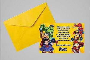 Convite 10x15 Vingadores 007 com foto