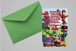 Convite 10x15 Vingadores 008 com foto