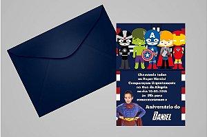 Convite 10x15 Vingadores 009 com foto