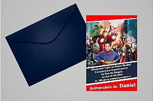 Convite 10x15 Vingadores 010 com foto