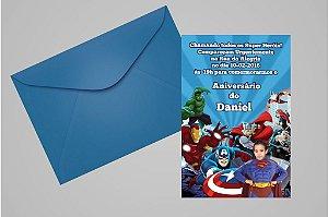 Convite 10x15 Vingadores 011 com foto