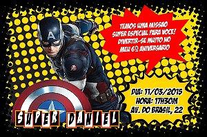 Convite digital personalizado Capitão América 001