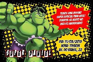 Convite digital personalizado O Incrível Hulk 001