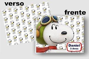 Convite Cartão Snoopy com aplique scrap
