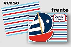 Convite Cartão Nautico com aplique scrap