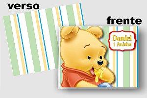Convite Cartão Baby Pooh com relevo