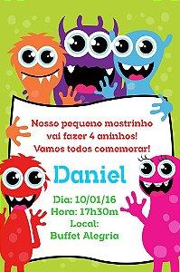 Convite digital personalizado Monstrinhos 006