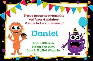 Convite digital personalizado Monstrinhos 008
