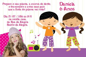 Convite digital personalizado Festa do Pijama 002 com foto