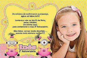 Convite digital personalizado Minions 017 com foto