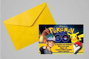 Convite 10x15 Pokémon GO 006 com ou sem foto