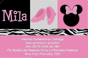 Convite digital personalizado Minnie Rosa 021