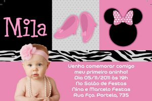Convite digital personalizado Minnie Rosa 021 com foto