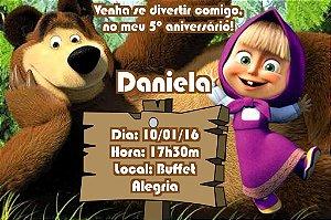 Convite digital personalizado Masha e o Urso 001