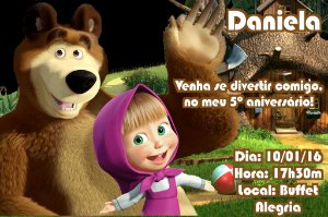 Convite digital personalizado Masha e o Urso 002