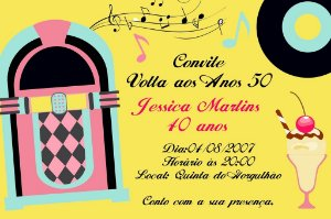 Convite digital personalizado Festa Anos 50 001