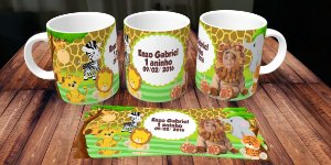 Caneca Safari com montagem da roupa de Leão