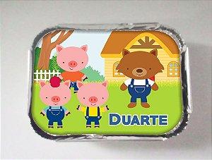 Arte para marmitinha personalizada Os Três Porquinhos