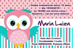 Convite digital personalizado Coruja 011
