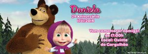 Convite personalizado para evento no facebook Masha e o Urso