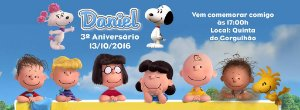 Convite personalizado para evento no facebook Snoopy e Charlie Brown