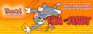 Convite personalizado para evento no facebook Tom e Jerry